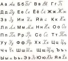 Russian Alphabet with cursive counterparts