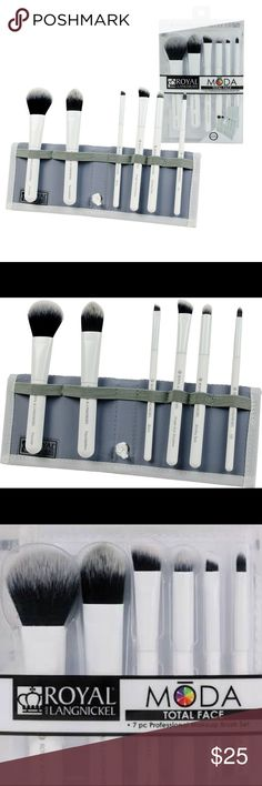 MODA Face Makeup Brushes Great for travel or home use, keep these smaller white MODA® face brushes organized in the accompanying travel case.  Includes Powder, Foundation, Angled Shader, Smoky Eye, Brow, and Lip brushes.  Bundle 3 or more items for an additional 15% off! royal & langnickel Makeup Brushes & Tools