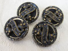 Set of 4 Small ANTIQUE Victorian Blue Metal Fruit by abandc, $11.55