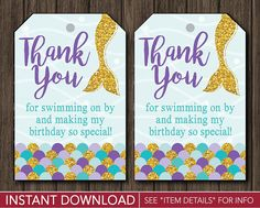 Mermaid Birthday Favor Tags | Mermaid Thank You Party Favor Tags | Printable Digital File | INSTANT DOWNLOAD by PuggyPrints