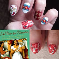 31DC2013, day 24: a book. Inspired by Like Water for Chocolate by Laura Esquival. Cover art by Cathleen Toelke, designed by Julie Dequet. Nail art by Red Hall.