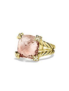 David Yurman - Cushion on Point Ring with Morganite and Diamonds in Gold