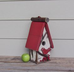 shabby chic birdhouses | Rustic Wood Birdhouse, Shabby Chic Birdhouse, Red Birds, Primitive ...