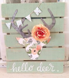 DIY Teen Room Decor Ideas for Girls   Floral Deer Head Pallet Art   Cool Bedroom Decor, Wall Art & Signs, Crafts, Bedding, Fun Do It Yourself Projects and Room Ideas for Small Spaces http://diyprojectsforteens.com/diy-teen-bedroom-ideas-girls-rooms #cuteteengirlbedroomideas #artsandcraftsforteengirls, #teengirlbedroomideasdiy #teengirlbedroomideassmall #teenroomdecor #bedroomdecoratingideasforteengirls #teengirlbedrooms