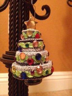 Recycled Green Christmas Tree Ornament by kcolagioia1 on Etsy, $10.00