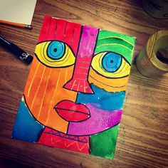 Big Face Painting. My favorite combination is the thick, chisel tip markers with crayons and watercolor. #artprojectsforkids