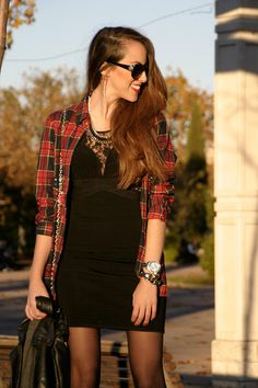 i like the black dress and plaid shirt together; but not this dress, a basic one.