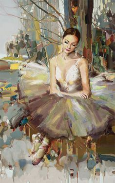 Oil painting of a ballerina by Artist Mahnoor Shah #OilPaintingBirds
