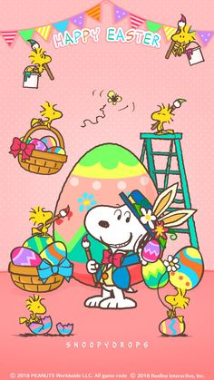 Snoopy and Woodstocks Happy Easter Wallpaper, Snoopy Wallpaper, Holiday Wallpaper, Charlie Brown Easter, Charlie Brown Und Snoopy, Snoopy Images, Snoopy Pictures, Snoopy Und Woodstock, Hello Kitty