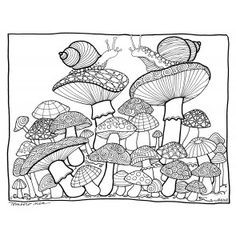 Mushroom Coloring Page illustrated by Marie Browning