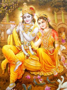 Divine Lovers : Radha krishna poster Reprint on Paper -(20X16 inches) #079