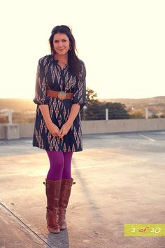 Dress with colored tights with boots