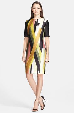 St. John Collection Layered Stripe Print Mikado Dress available at #Nordstrom
