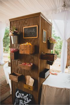 what a fun candy bar! vintage style candy station prop from Charlotte vintage rentals Wedding Candy, Wedding Desserts, Candy Table, Candy Buffet, Bar A Bonbon, Sweet Station, Booth, Biltmore Estate, Festa Party