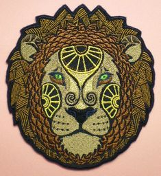 Large 5 1/2 by 5 Inch Embroidered Leo the Lion Astrology Sign Iron On Applique Patch - $21.00