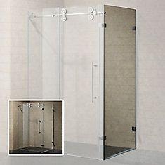36 in glass opening sliding shower door for double or triple threshold shower base