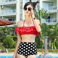 Apoyo de acero de la mujer frunce Dot Bikini Traje de baño de cintura alta - CLP $ 63.488
