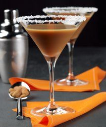 Toffee Martini:1 ounce Vodka,1 ounce butterscoth schnapps, 1 ounce brown crème de cacao, 1 ounce almond milk