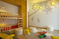 yellow and grey, natural wood nursery