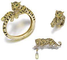 """Cartier Parure Tigre """"Sherkhan"""" Diamants Jaunes, Onyx, Émeraudes, Diamants, Or"""