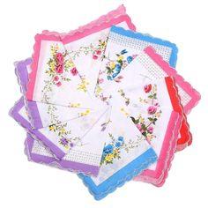 10Pcs/Set Floral Handkerchief Lot Square Cutter for Ladies Vintage Cotton Hanky 29.5cmX29.5cm Handle Towel for Home Picnic