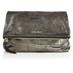 Jimmy Choo Shimmer Suede Fold-Over Clutch ($495) ❤ liked on Polyvore featuring bags, handbags, clutches, anthracite, jimmy choo clutches, brown hand bags, jimmy choo handbags, handbag purse and suede purse