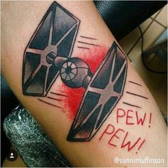 Tie fighter star wars tattoo by R2d2 Tattoo, Lightsaber Tattoo, Star Wars Tattoo, Tattoo Stars, Time Tattoos, Star Tattoos, Tatoos, Nerd Tattoos, Star Wars Quotes