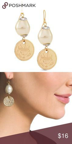 SOPHIE DROP EARRINGS Accessorize to perfection with these drop earrings. Faux coins swing from pearly baubles.  Wire.  Metal, acrylic.  Imported. New with tags and gift box! Jewelry Earrings