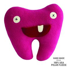 Handmade Pink Softy Tooth Pillow Pal (100% USA Polar Fleece) Pillows