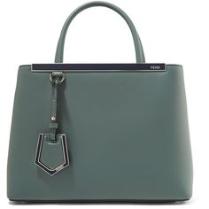 Fendi 2Jours Petite leather shopper ($2,225) ❤ liked on Polyvore featuring bags, handbags, tote bags, gray green, gray leather handbags, leather handbags, grey crossbody purse, leather purses and cross-body handbag