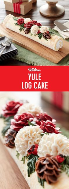 Beautiful Yule Log Cake - A Yule log, or French Bûche de Noël, is a traditional dessert served at Christmas, and may appear to come straight out of the forest. Our version is a bit fancier, covered in ivory-tinted icing and decorated with icing roses, carnations, pine and holly. Serve this holiday-worthy dessert as a spectacular end to your Christmas Day celebrations! #christmascake #wiltoncakes #buttercream