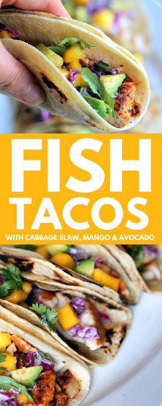 Cinco de Mayo is right around the corner, and this recipe for fish tacos is the perfect dinner to cook up in celebration! These tacos are so colorful and delicious, plus super easy to make.  The spicy chili-lime tilapia, crunchy sour cream cabbage slaw, along with sweet mango and avocado give these tacos loads of flavor.