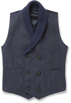 Hardy Amies Herringbone Wool Shawl-Collar Waistcoat, London firm Hardy Amies proves that formal pieces can be packed with character with this herringbone wool waistcoat. The knitted shawl collar adds a distinctive texture contrast and the double-breast cut nods to traditional style.