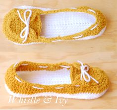 Women's Boat shoe sperry's slipper house shoe crochet pattern