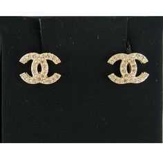 Chanel 2015 Gold CC Diamante Crystals Classic Stud Earrings - New