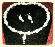 2 pc White Pearl Set w/Aurore Bore'ale Crystals embedded & dangling designed by Cherry P @womensmallbiz for our fundraiser. 25.00
