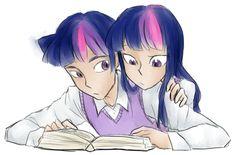 #646592 - artist:annie-aya, dusk shine, humanized, reading, rule 63, safe, self ponidox, twilight sparkle - Derpibooru - My Little Pony: Friendship is Magic Imageboard