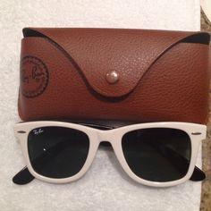 White rayban sunglasses White frame vintage rayban WAYFARER RAY-BAN sunglasses!!! They are very dark lenses!! Ray-Ban Accessories Sunglasses
