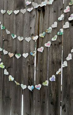 Vintage Birds Paper Heart Garland