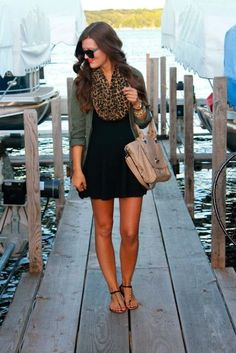 Green army jacket, black mini dress, leopard scarf and bag fashion | Fashion and styles