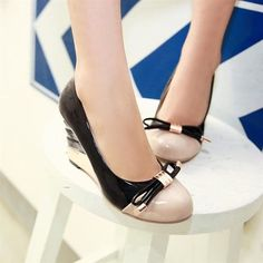 Black & Apricot Patchwork Womens Vogue Wedge Heel Patent Leather Pumps | martofchina.com