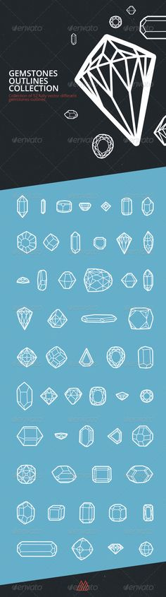Gemstones Outlines Set