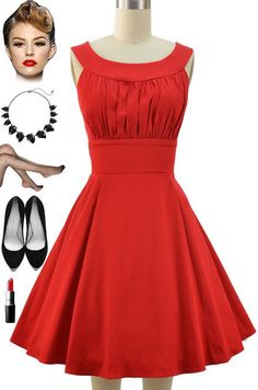50s Style Solid RED Round Neck Bombshell PINUP Full Skirt Sun Dress #PrivateManufacturer #Sundress #Casual