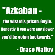 """If you were any slower, you'd be going backwards."" ~Draco Malfoy, Harry Potter and The chamber of Secrets"