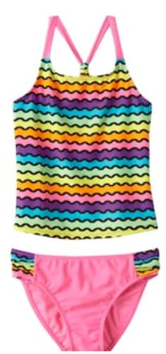 2e8612cc51c99 SO Girl's RAINBOW WAVES 2 Pc Racerback Tankini Swimsuit Set Size 4 NWT  $30.00 #so