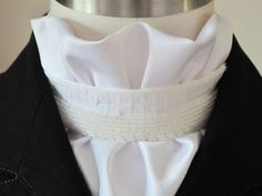 White Cream *SALE* ShowQuest Ready Tied Satin Riding Competition Stock