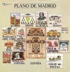 portada de plano de la ciudad, 1981, míticos nombres de calles en cerámica