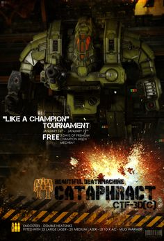 Wake up fellow Mechwarriors!  Log in this weekend to earn your FREE:  3 Days of Premium time Cataphract CTF-3D(C) Champion 'Mech Mechbay that fits the Cataphract nicely  Check out the Tournament page for more info!  https://mwomercs.com/tournaments