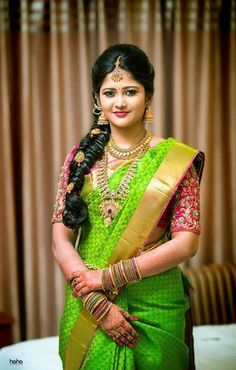 Bridal Hairstyle Indian Wedding, South Indian Bride Hairstyle, Bridal Hairdo, Indian Bridal Hairstyles, Indian Bridal Fashion, Hair Wedding, Wedding Vows, Saree Hairstyles, Bride Hairstyles