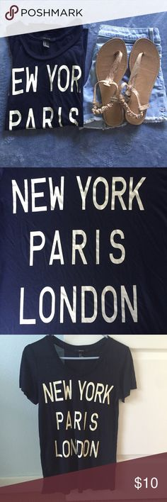 New York, Paris, London Tee Worn only a few times but shows a little bit of wear from the wash. Dark navy blue color. Forever 21 Tops Tees - Short Sleeve